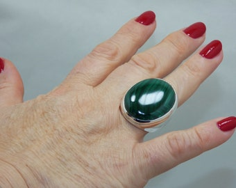 Natural Malachite 925 Sterling Silver Ring