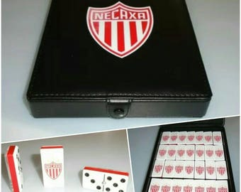 Rayos del Necaxa Dominoes Game Set Double Six Domino Party Gift ManCave Bar Home Restaurant Cantina Pub Family Game Board Game Futbol Casino