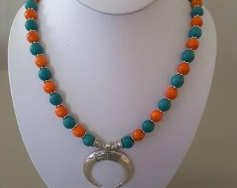 13 inch orange/blue beaded (10mm round) 3pc necklace set.