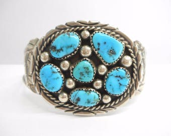Turquoise Cuff, Sterling Cuff, Turquoise Bracelet, Native American Sterling Silver Sleeping Beauty Turquoise Cuff Bracelet #3173