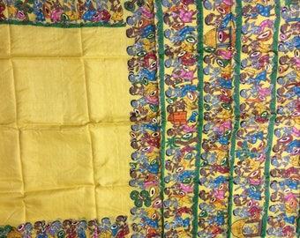 Handpainting Pata Chitra on pure Tussar Silk Saree