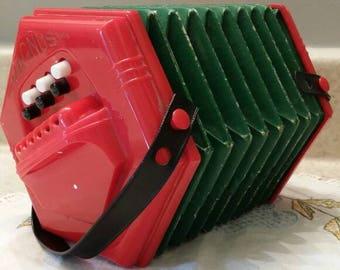1950 Red Magnus Concertina Toy Musical Instrument