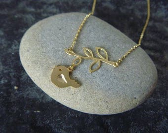 Gold bird and branch Necklace: spring is here!