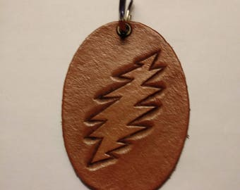 Hand Tooled Leather Keychain Grateful Dead 13 Point Bolt
