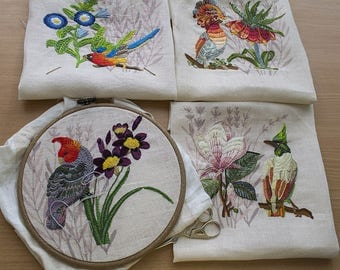 Needlepoint kits, Tropical birds, Embroidery kit, embroidering with decorative stitches, 30x40 cm