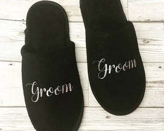 Personalised Slippers, Groom, Groomsmen, Best Man, Towelling Slippers