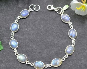 Natural Labradorite Oval Gemstone Chain Bracelet 925 Sterling Silver B13