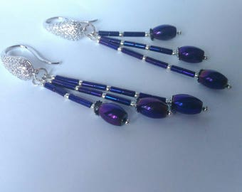 Purple natural stone Hematite earrings Tassel earrings Long earrings Handmade  jewellery