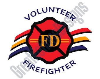 Volunteer Firefighter SVG - HTV - Vinyl Cutting Graphic Art