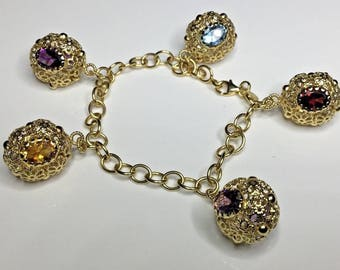 "Estate Italian 18K Yellow Gold 7.25"" Long Chain Gemstone Charm Bracelet 17.3 Gr"