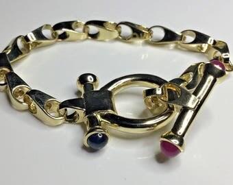 "Estate Italian 14K Yellow Gold 8.25"" Long Chain Gemstone Bracelet 33 Grams"