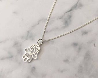 Sterling Silver necklace with Hamsa Hand charm