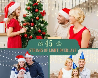 45 Strings of Light Overlays, Christmas lights, Photoshop Overlay, Fairy lights, Christmas overlays, glowing lights Clipart, Light effects
