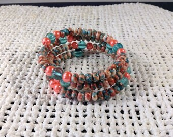 Turquoise and peach memory wire bracelet