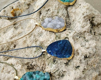 Natural Druzy Agate Crystal Necklace on Vegan leather cord