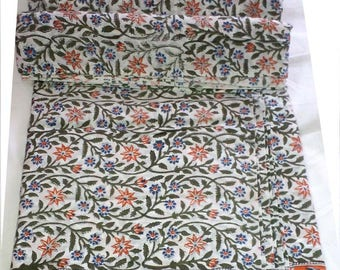 10 yard Indian Hand Block Beautiful Printed 10Yards Fabric Dressmaking Running Cotton
