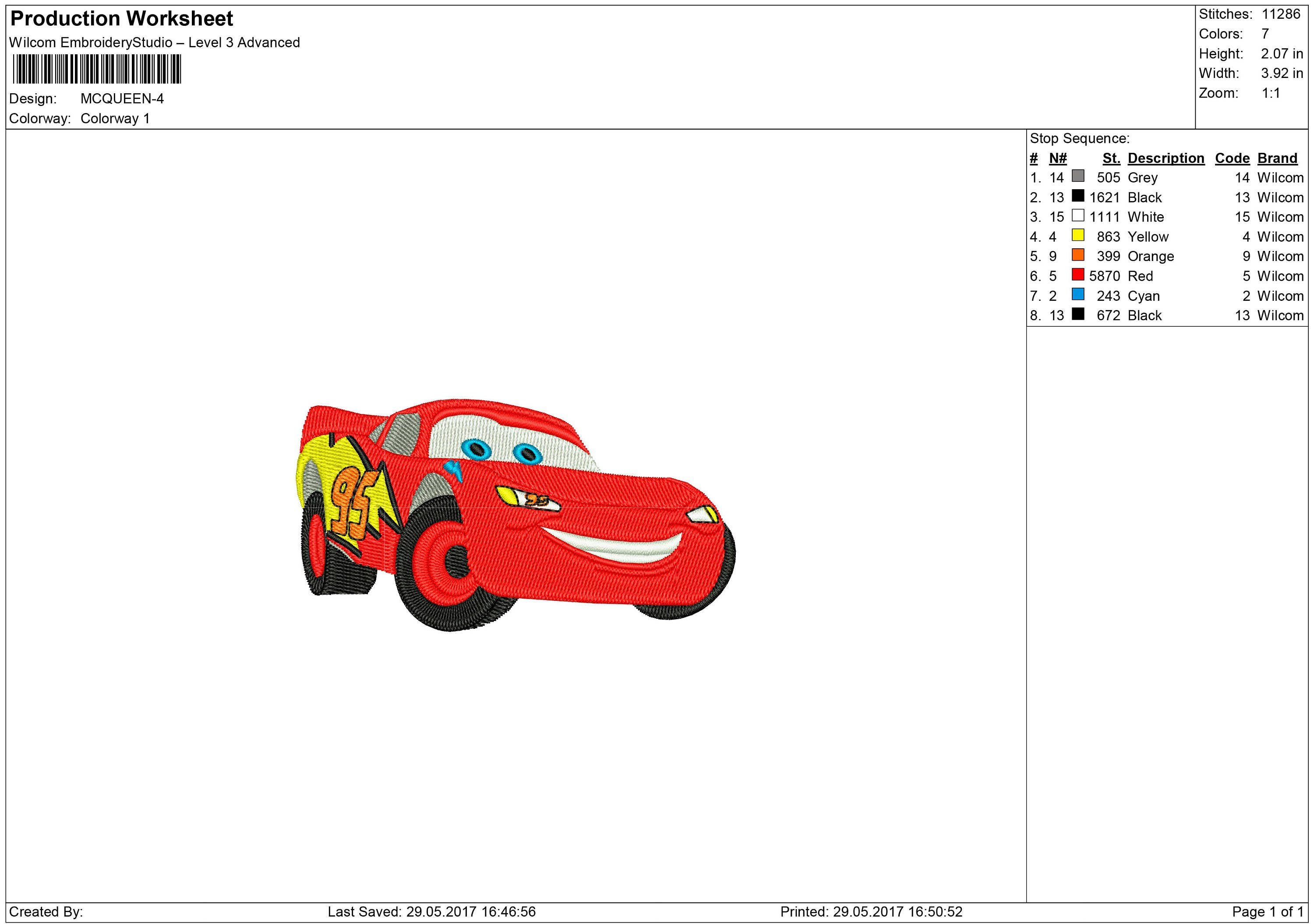 based on cars story lightning mcqueen embroidery design machine embroidery design from. Black Bedroom Furniture Sets. Home Design Ideas