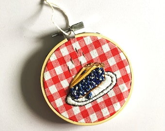 Blueberry Pie - Hand Embroidered Wall Hanging