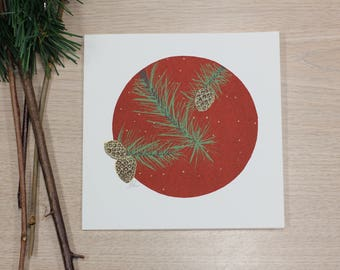 Christmas greeting card - Christmas card - pinecone