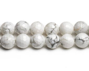 8mm howlite faceted beads 8mm faceted howlite bead 8mm white howlite round howlite 6mm faceted gemstone white buffalo stone 10mm facet beads