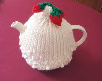 Hand Knitted Tea Cosy 'Strawberries & Cream' Medium Size