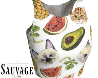Cats , Avocados , Pineapple , watermelon  • Athletic crop top • Festivals and yoga classes approved • handmade in Montreal - XS to XL