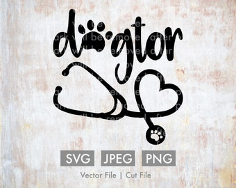 Dogtor, Vet - Cut File/Vector - Cricut, Silhouette, SVG, JPEG, PNG, Paw Print, Stethoscope, Clip Art, Stock Photo, Illustration, Download