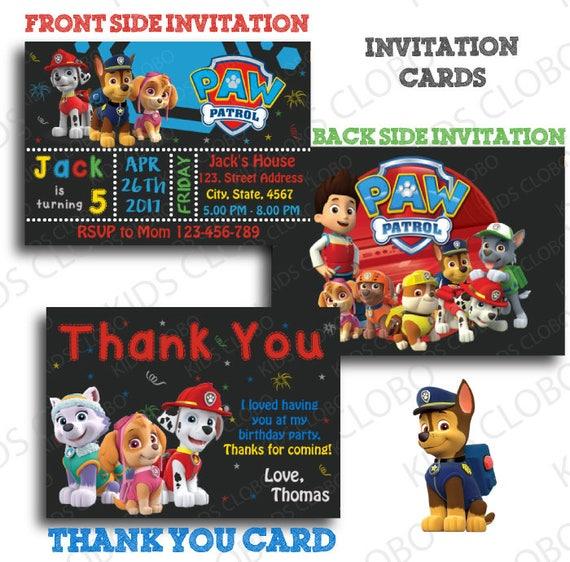 Paw Patrol Invitation Paw Patrol Birthday Invite Paw Patrol