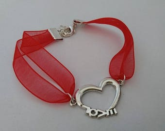Love red and silver bracelet