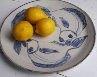 Handmade ceramic platter with fish - large
