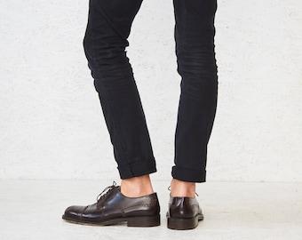 Vintage Dark Brown METELLO Leather Oxfords Wingtip Shoes