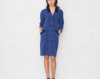 Vintage Blue Buttons Front Dress/ Size L