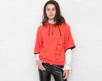Vintage Red Short Sleeves Hoodie Sweat/ 1/4 zipped/ One Size