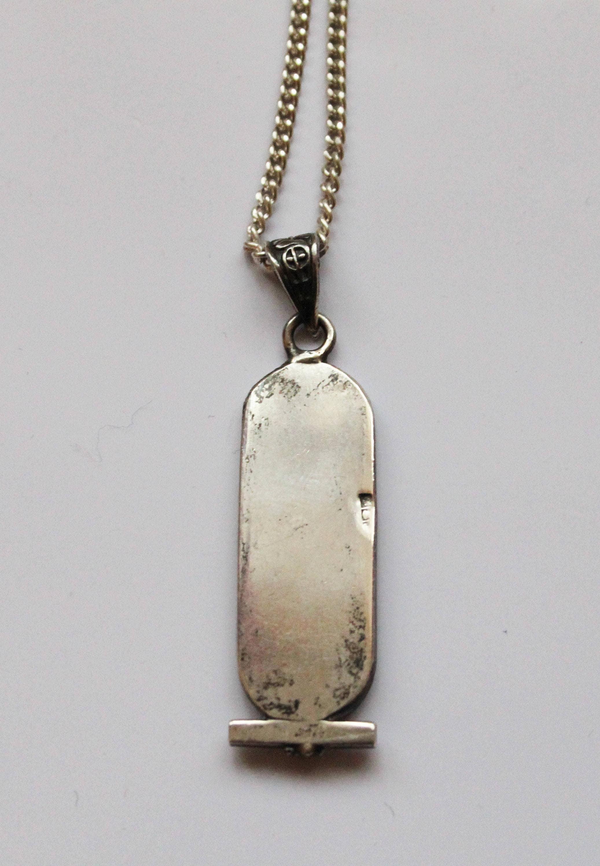 Vintage egyptian silver cartouche pendant with silver chain vintage egyptian silver cartouche pendant with silver chain aloadofball Image collections