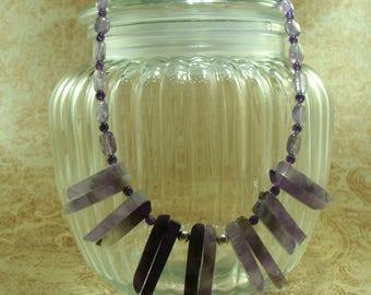 Semi Precious Amethyst Necklace-Handmade Necklace-Gemstone Necklace-UK Made Necklace-Amethyst Necklace-Unique Necklace-PurpleBeaded Necklace