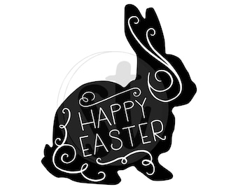 Happy easter bunny SVG cut file, easter bunny cut file, easter bunny svg, happy easter clipart, easter clipart, easter svg, cutout design