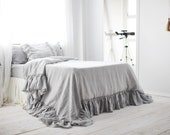 Light gray 10'' Ruffles Linen Duvet cover- 15 colors- Linen Duvet Cover -Washed linen bedding- Bedroom linen- Choose size #Winter snow#