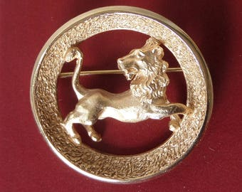 Vintage 1960's-1970's Trifari Leo Lion Zodiac Astrological Sign July August - Gold Tone - Three Dimensional with Dates