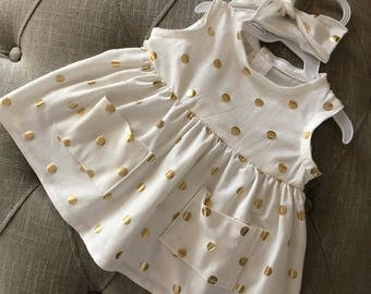 Dress-Gold polka dots dress-Summer dresse-Sundress