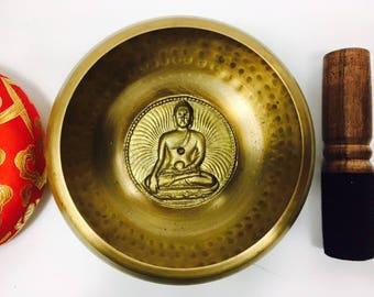 "5"" (Root Chakra) Tibetan Buddhist Brass Hammer Finished Mantra Singing Bowl - 750g ॐ"