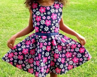 Flower dress, Party dress, Handmade dress, 7-8 girls dress, Pink flower dress, A shape dress, Blue ribbon dress, Lined dress, Elegant Dress