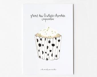 Green tea & white chocolate cupcake