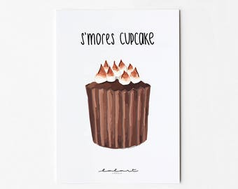 s ' S'mores cupcake. Postcard with illustration and Handlettering