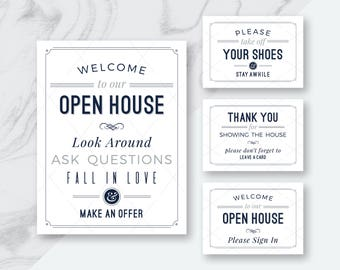 BEST DEAL! Real Estate Welcome to Our Open House Printables, Welcome to Open House & Please Sign In, Please Remove Your Shoes, 24 PDFs