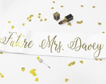 Future Mrs Sash, Bash Party, Bachelorette, Hen Party, Bride Tribe, Bridal Shower, Gold Glitter Sash, Rose Gold Sash, Model SM