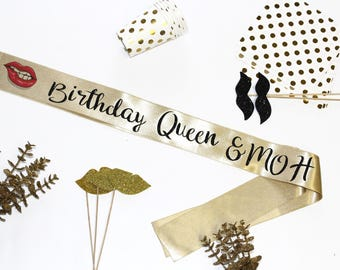 Birthday Queen & MOH Sash, Party Sash, Bachelorette Sash, The Bride Sash, Glitter Sash, Bride To Be, Bridal Shower, Bride Tribe, MDMASR