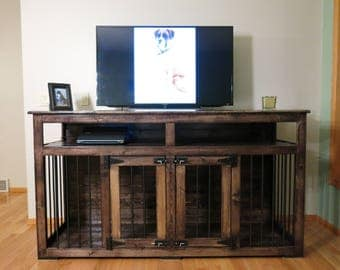 Charlie (#1 on Etsy) Entertainment Center/Dog Kennel/Custom Handmade Kennel/Dog Bed/Dog Crate Furniture/Pet Furniture/Handcrafted Wood