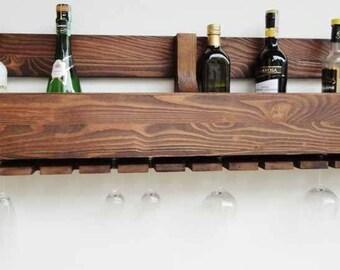 Wine Rack from Wood 120x28 cm Wine rack wall mounted Rustic wine rack Rustic decor Provincial furniture Rustic shelf Wine decor P03/O