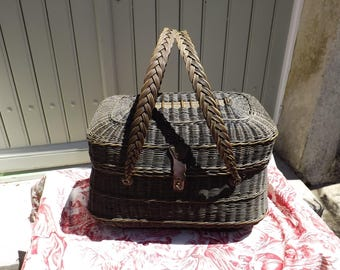 Vintage French Wicker Shopping  Basket