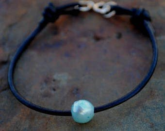 Baby Blue Freshwater Pearl and Leather Bracelet, Black Leather and Pearl, Leather and Pearls Jewelry, Sterling Silver and Leather Jewelry